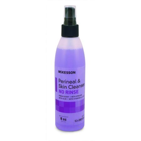 Perineal No Rinse Wash Liquid Spray Bottle, 8oz, CASE OF 48